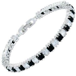 Black Spinel White Topaz Tennis Bracelet